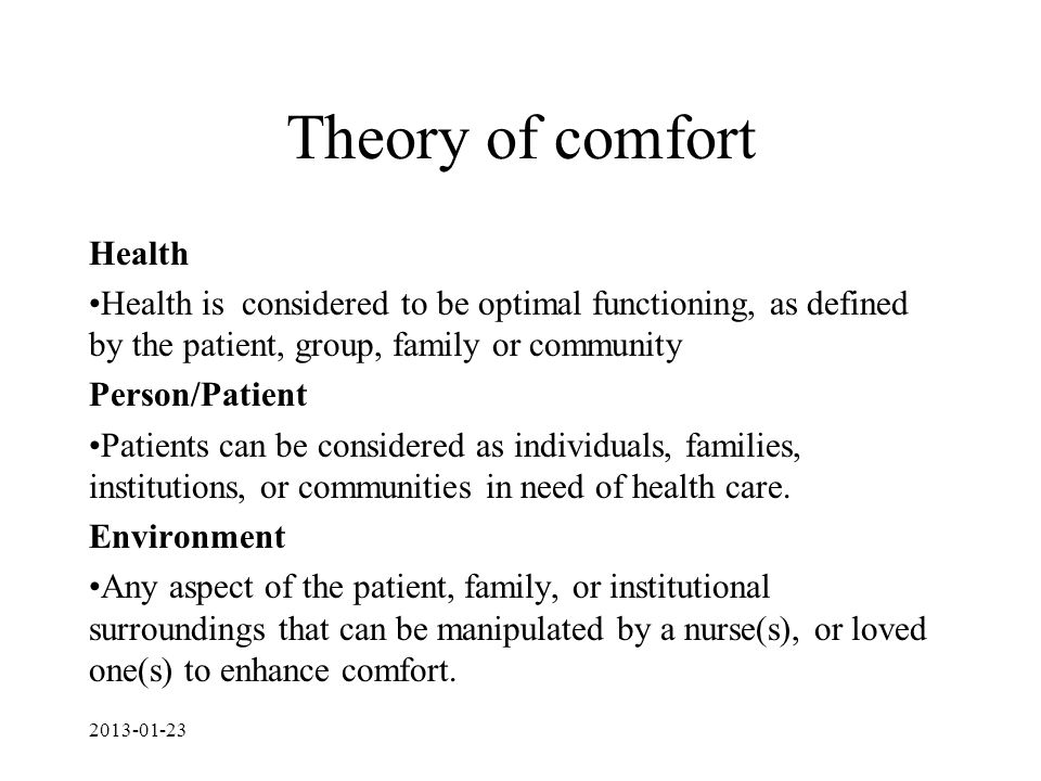 Theory of comfort Health