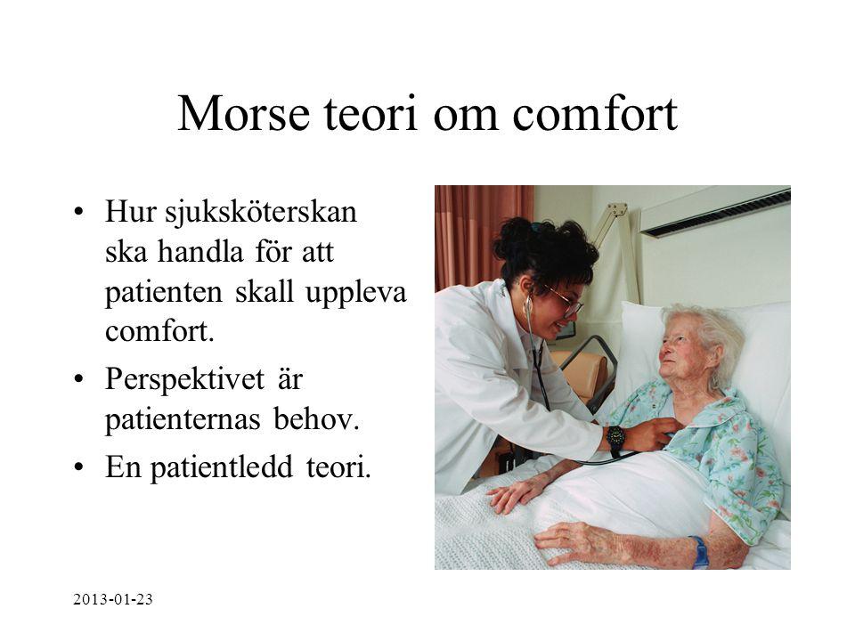 Morse teori om comfort Hur sjuksköterskan ska handla för att patienten skall uppleva comfort. Perspektivet är patienternas behov.