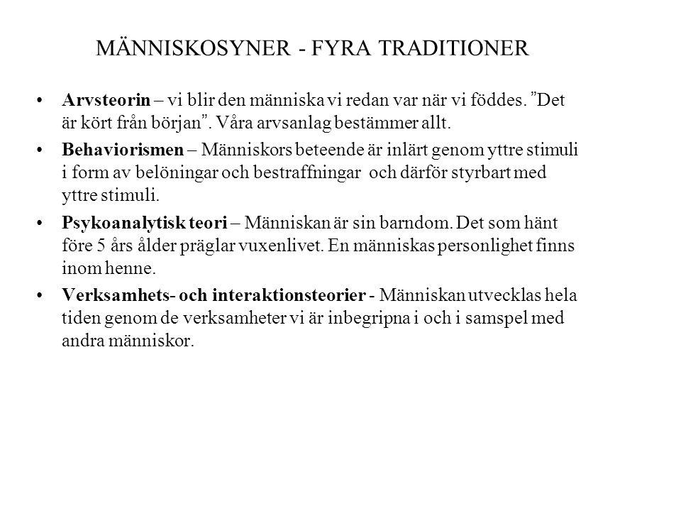 MÄNNISKOSYNER - FYRA TRADITIONER
