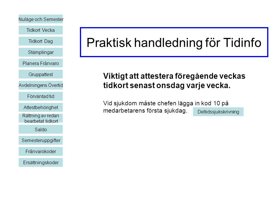Praktisk handledning för Tidinfo