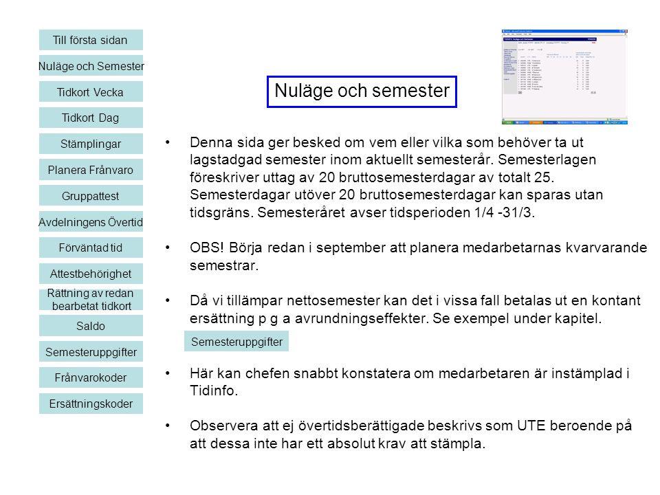 Till första sidan Nuläge och Semester. Nuläge och semester. Tidkort Vecka. Tidkort Dag. Stämplingar.