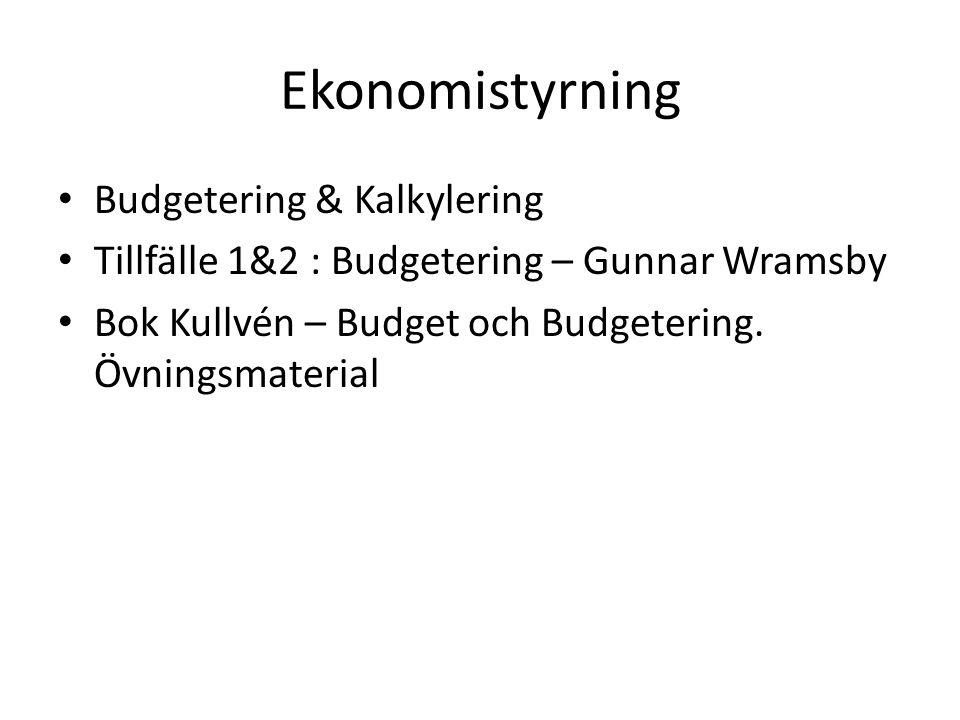 Ekonomistyrning Budgetering & Kalkylering