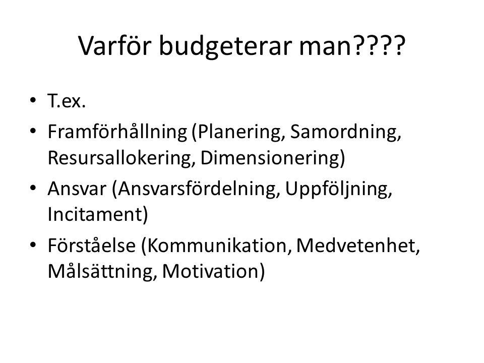 Varför budgeterar man T.ex.