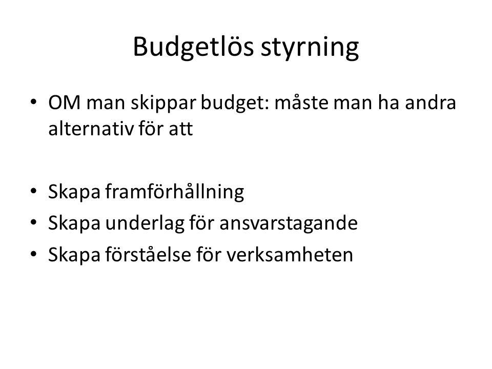 Budgetlös styrning OM man skippar budget: måste man ha andra alternativ för att. Skapa framförhållning.