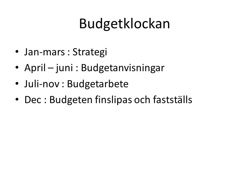 Budgetklockan Jan-mars : Strategi April – juni : Budgetanvisningar