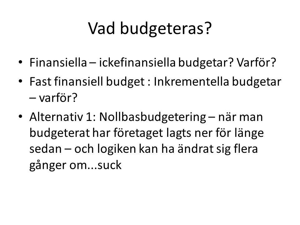 Vad budgeteras Finansiella – ickefinansiella budgetar Varför