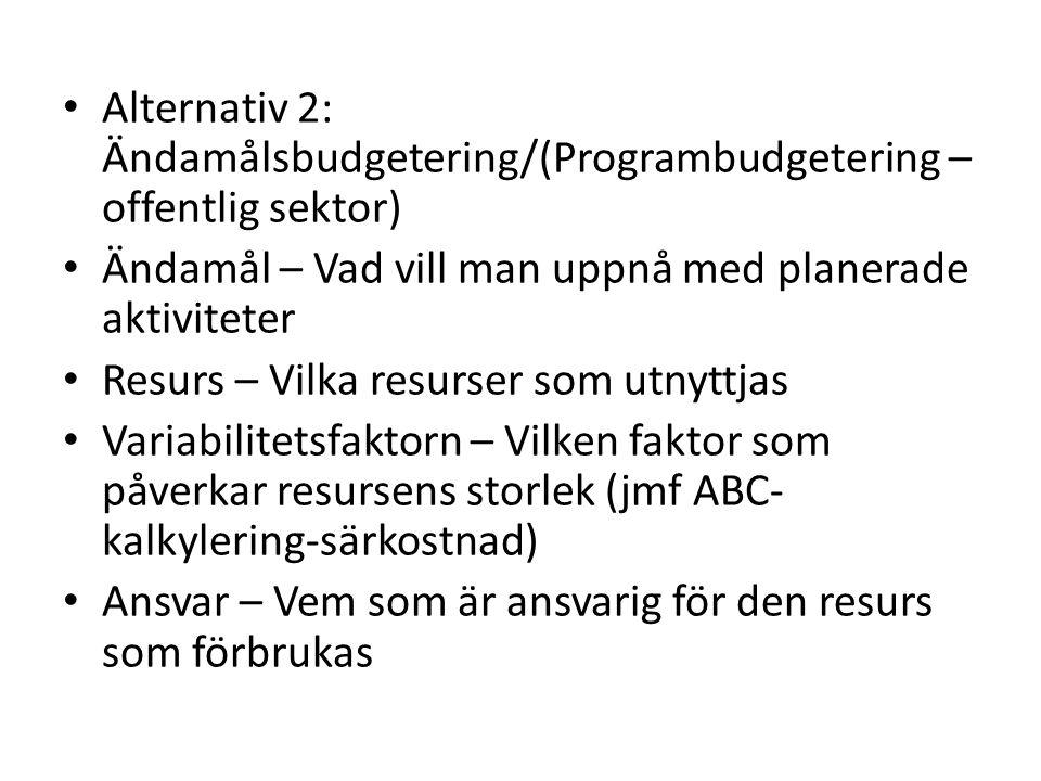 Alternativ 2: Ändamålsbudgetering/(Programbudgetering – offentlig sektor)