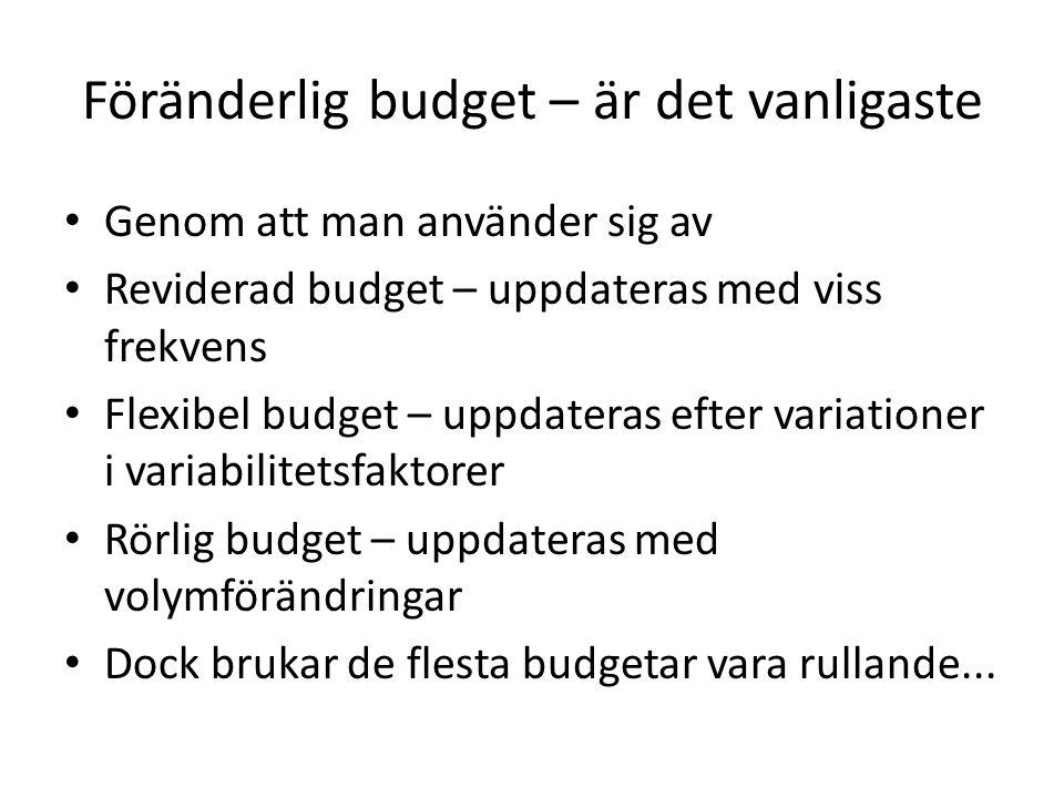 Föränderlig budget – är det vanligaste