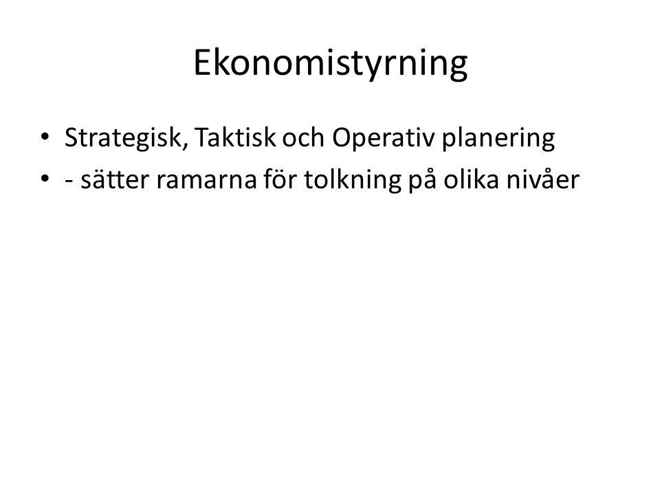 Ekonomistyrning Strategisk, Taktisk och Operativ planering