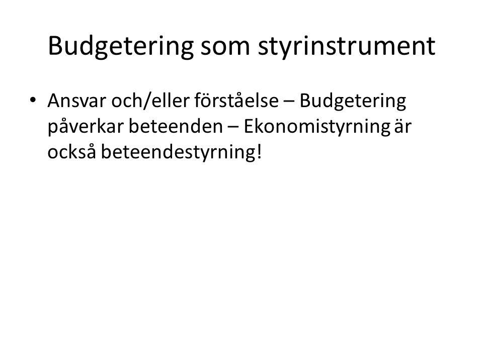 Budgetering som styrinstrument