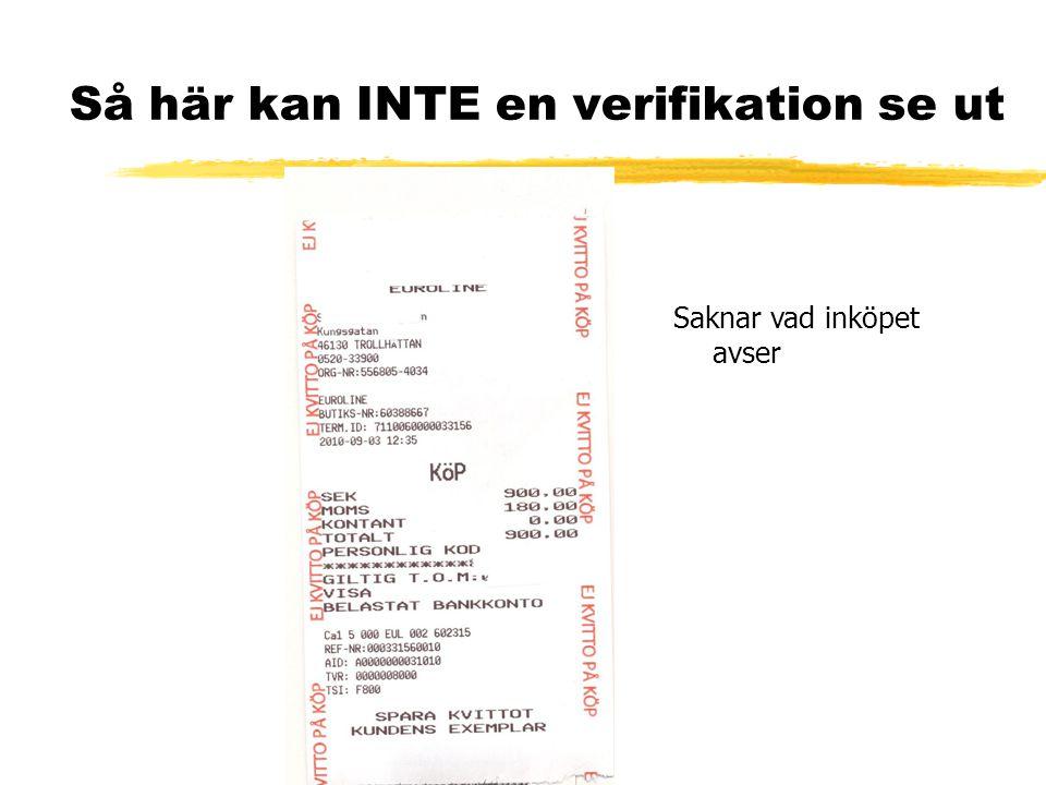 Så här kan INTE en verifikation se ut