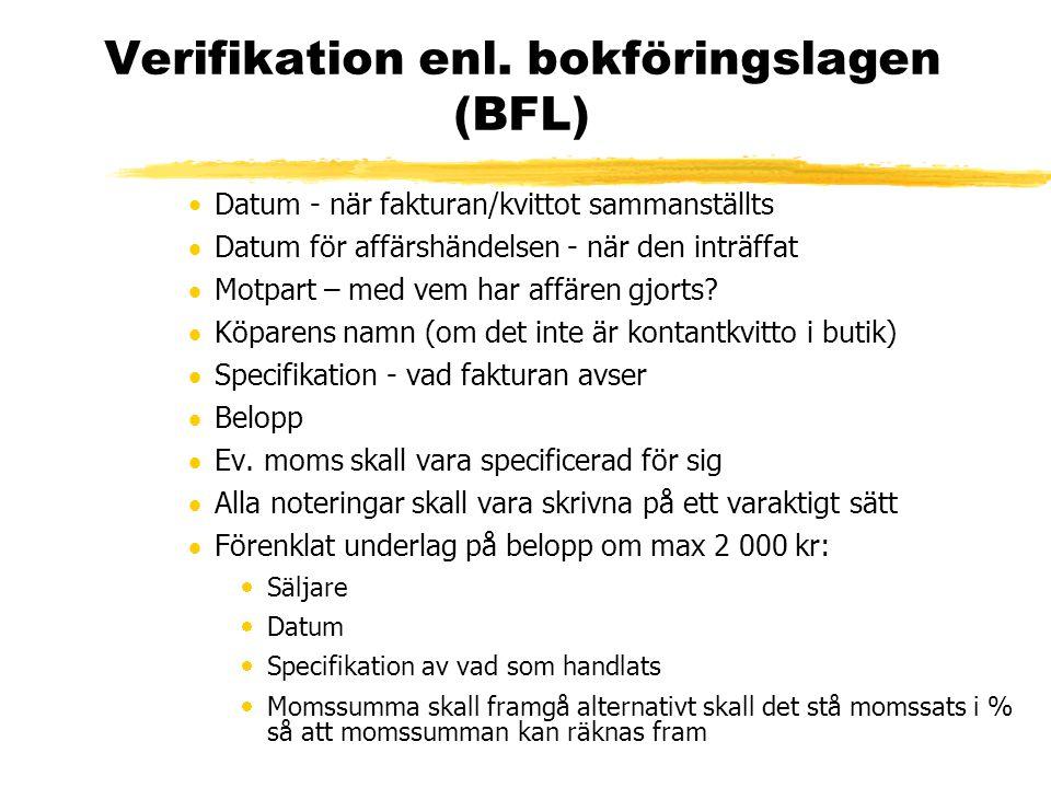 Verifikation enl. bokföringslagen (BFL)