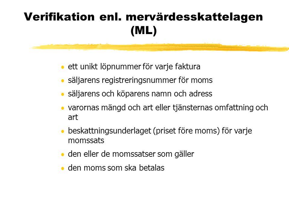 Verifikation enl. mervärdesskattelagen (ML)