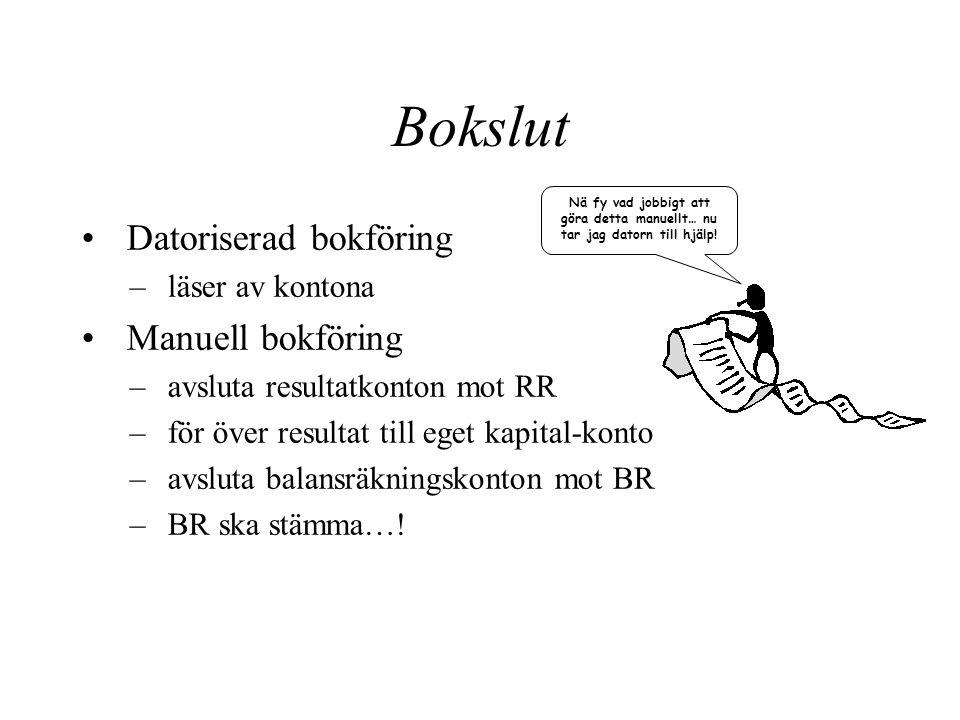Bokslut Datoriserad bokföring Manuell bokföring läser av kontona