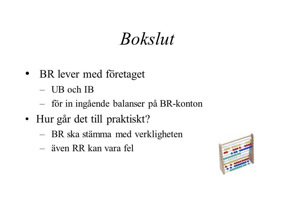 Bokslut BR lever med företaget Hur går det till praktiskt UB och IB