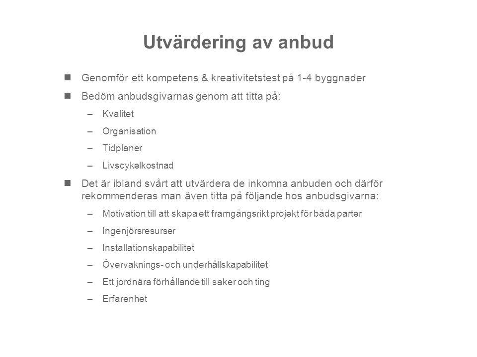 Utvärdering av anbud Genomför ett kompetens & kreativitetstest på 1-4 byggnader. Bedöm anbudsgivarnas genom att titta på: