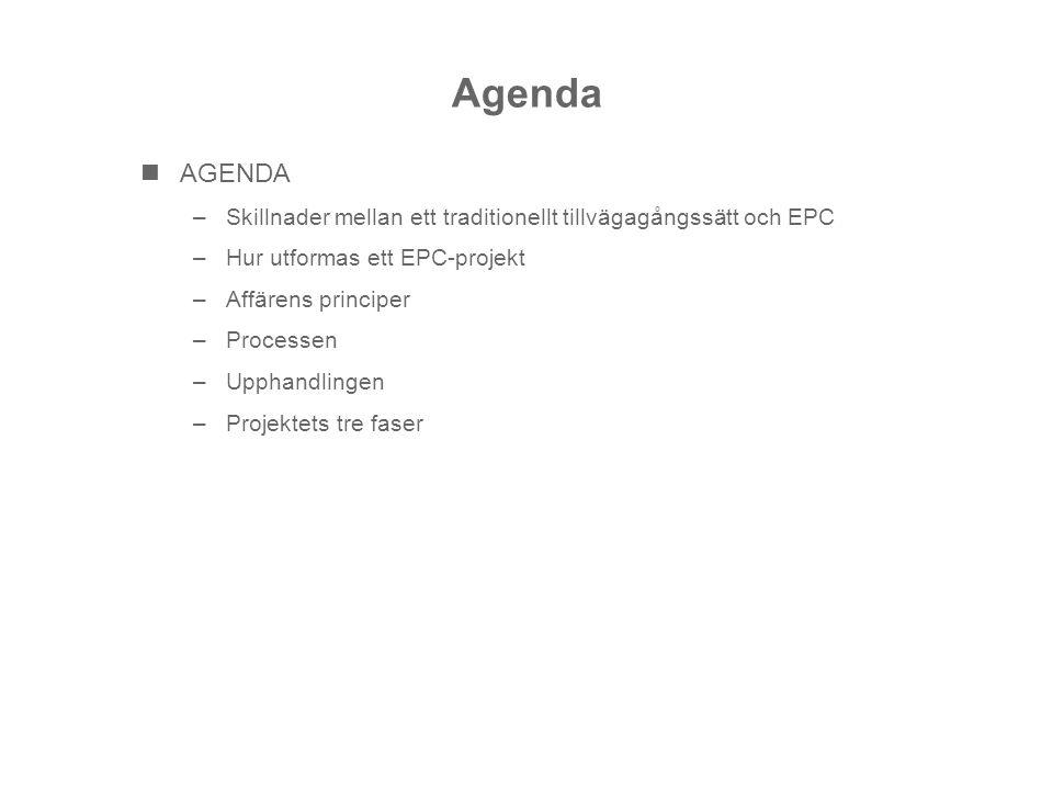 Agenda AGENDA. Skillnader mellan ett traditionellt tillvägagångssätt och EPC. Hur utformas ett EPC-projekt.