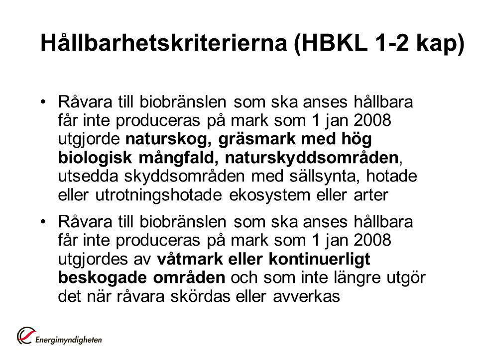 Hållbarhetskriterierna (HBKL 1-2 kap)