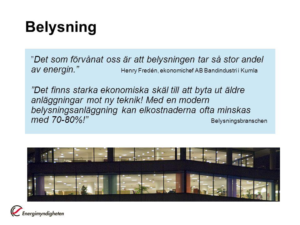 Belysning Det som förvånat oss är att belysningen tar så stor andel av energin. Henry Fredén, ekonomichef AB Bandindustri i Kumla.