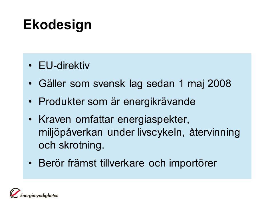 Ekodesign EU-direktiv Gäller som svensk lag sedan 1 maj 2008