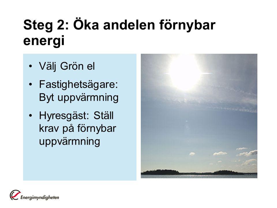 Steg 2: Öka andelen förnybar energi