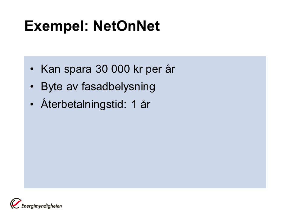 Exempel: NetOnNet Kan spara 30 000 kr per år Byte av fasadbelysning