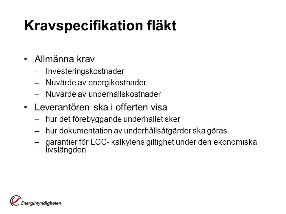 Kravspecifikation fläkt