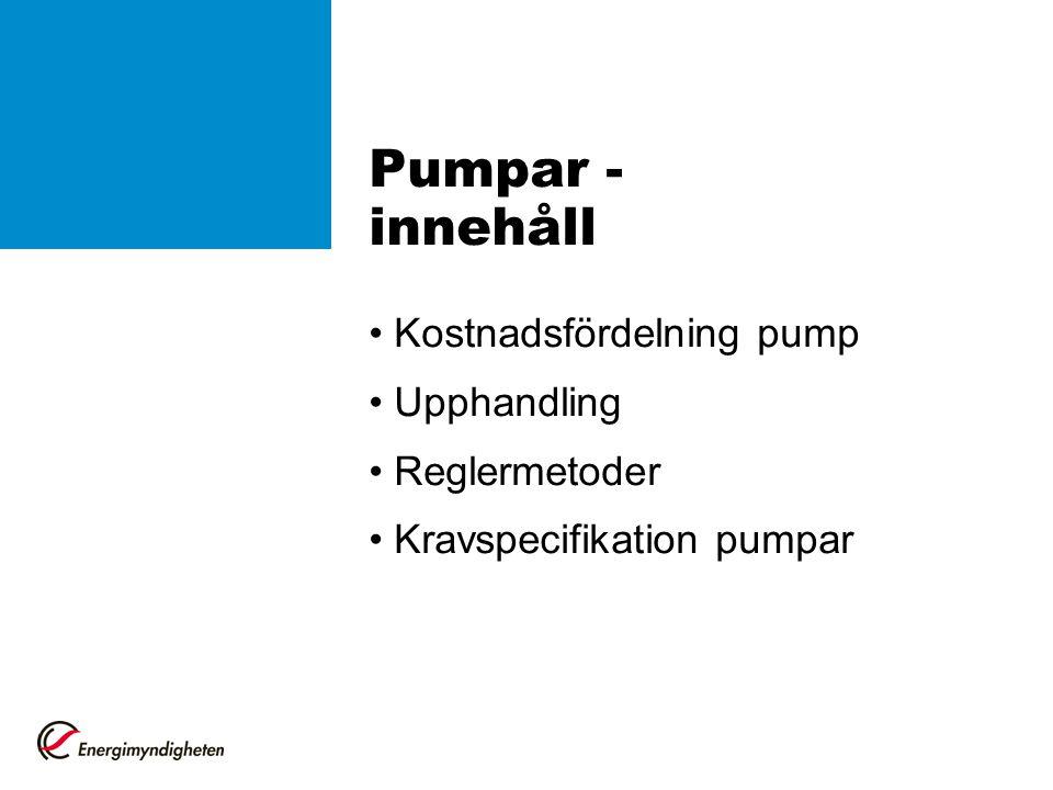 Pumpar - innehåll • Kostnadsfördelning pump • Upphandling