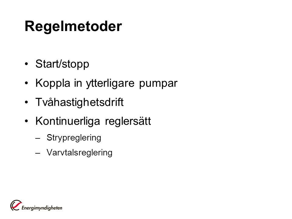 Regelmetoder Start/stopp Koppla in ytterligare pumpar