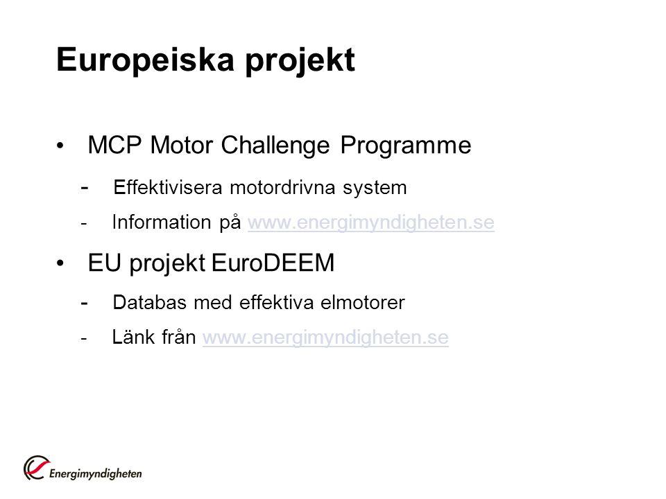 Europeiska projekt EU projekt EuroDEEM MCP Motor Challenge Programme