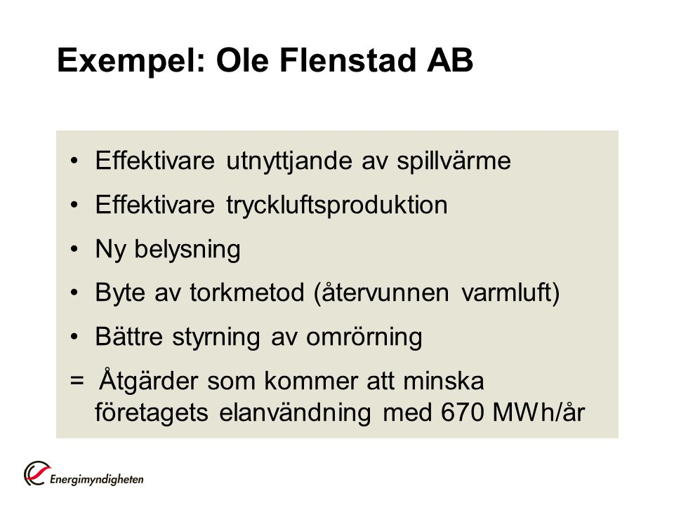 Exempel: Ole Flenstad AB