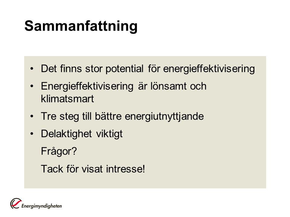 Sammanfattning Det finns stor potential för energieffektivisering