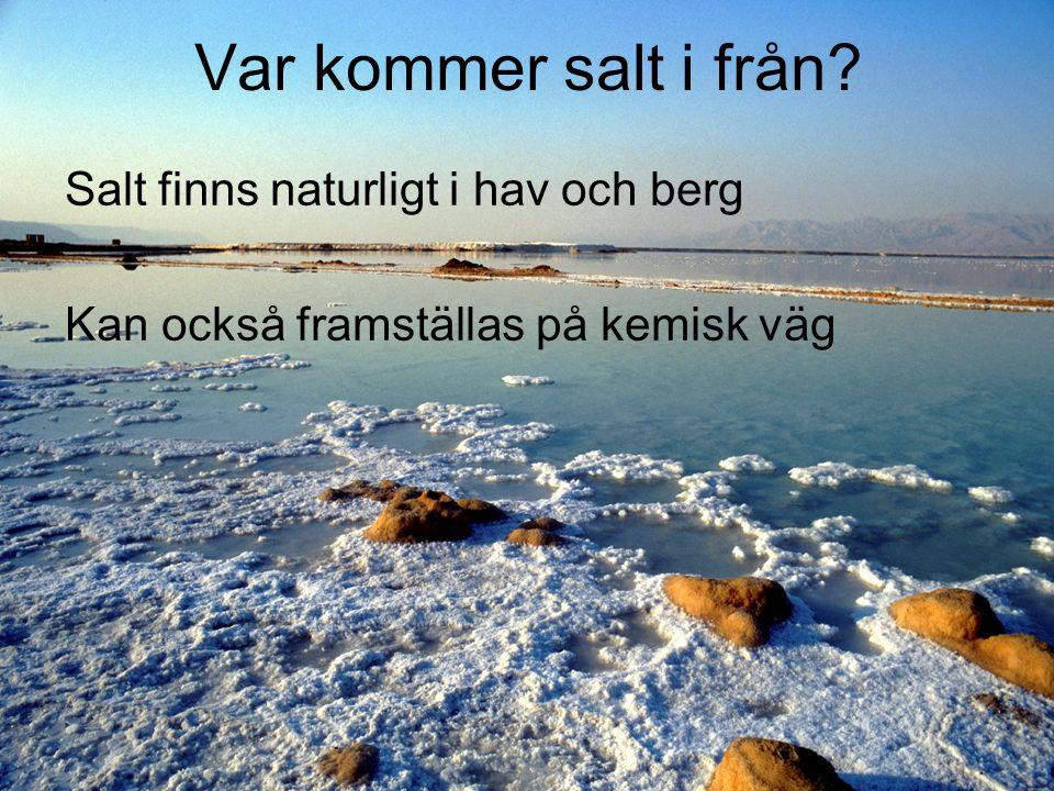 Var kommer salt i från Salt finns naturligt i hav och berg