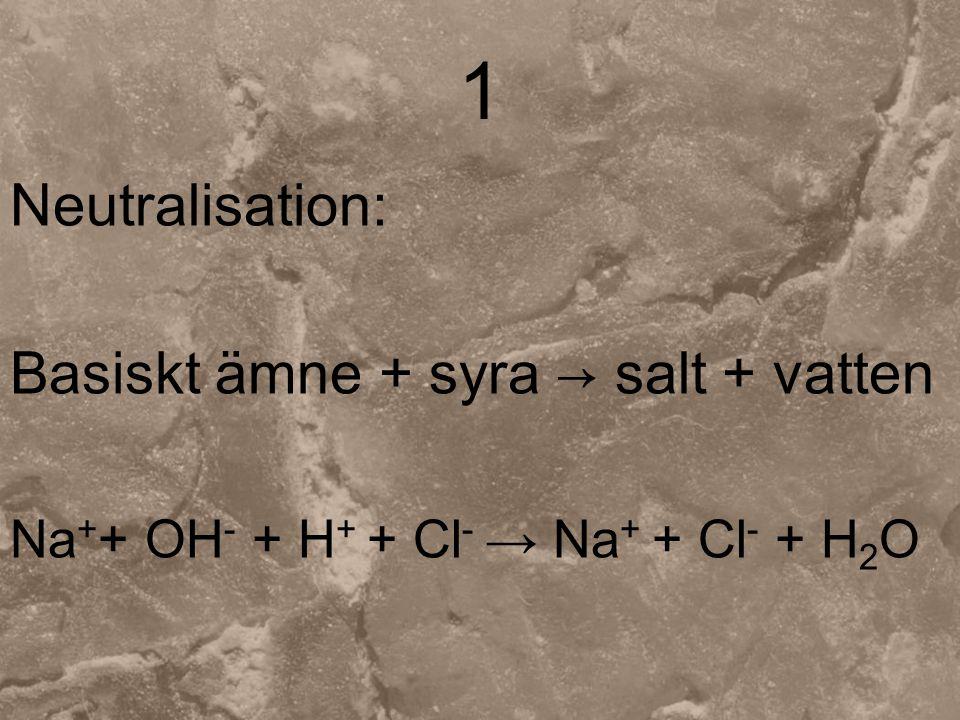 1 Neutralisation: Basiskt ämne + syra → salt + vatten