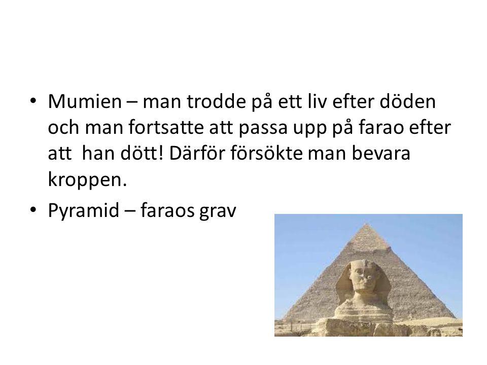 Mumien – man trodde på ett liv efter döden och man fortsatte att passa upp på farao efter att han dött! Därför försökte man bevara kroppen.