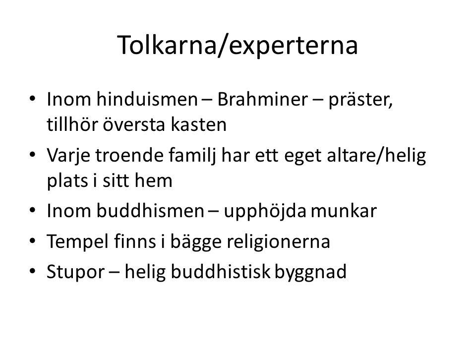 Tolkarna/experterna Inom hinduismen – Brahminer – präster, tillhör översta kasten. Varje troende familj har ett eget altare/helig plats i sitt hem.