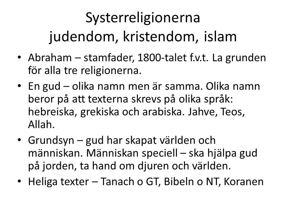 Systerreligionerna judendom, kristendom, islam