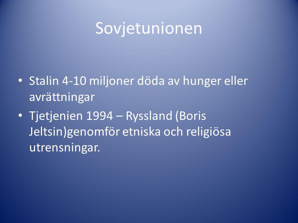 Sovjetunionen Stalin 4-10 miljoner döda av hunger eller avrättningar