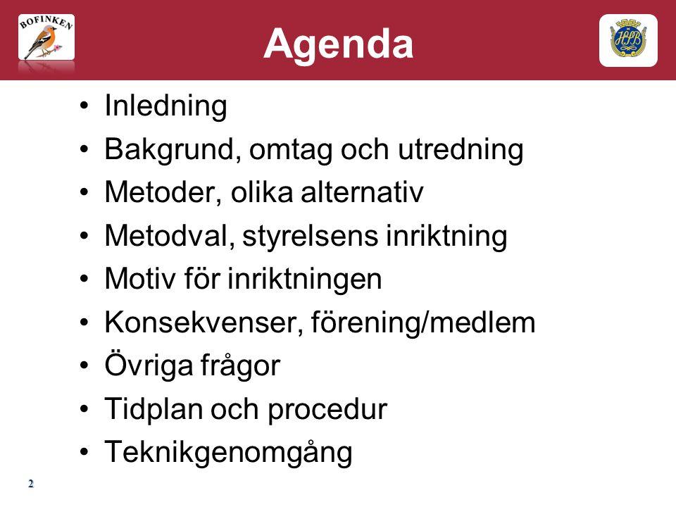 Agenda Inledning Bakgrund, omtag och utredning