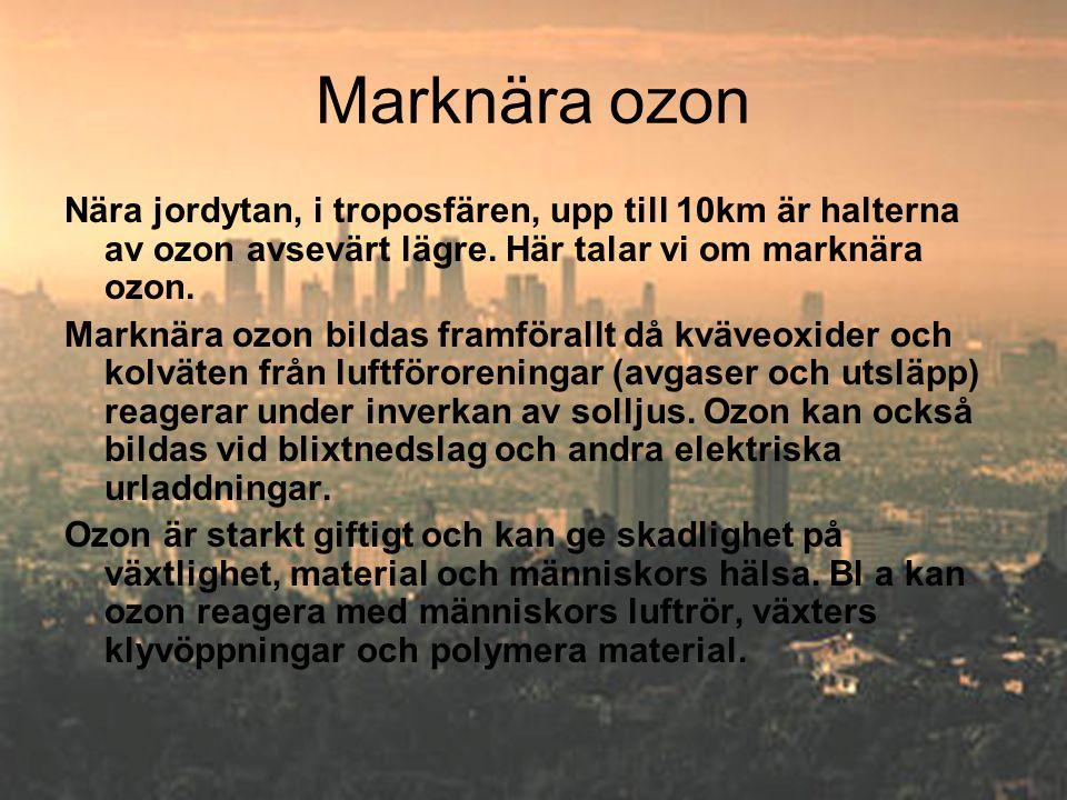 Marknära ozon Nära jordytan, i troposfären, upp till 10km är halterna av ozon avsevärt lägre. Här talar vi om marknära ozon.