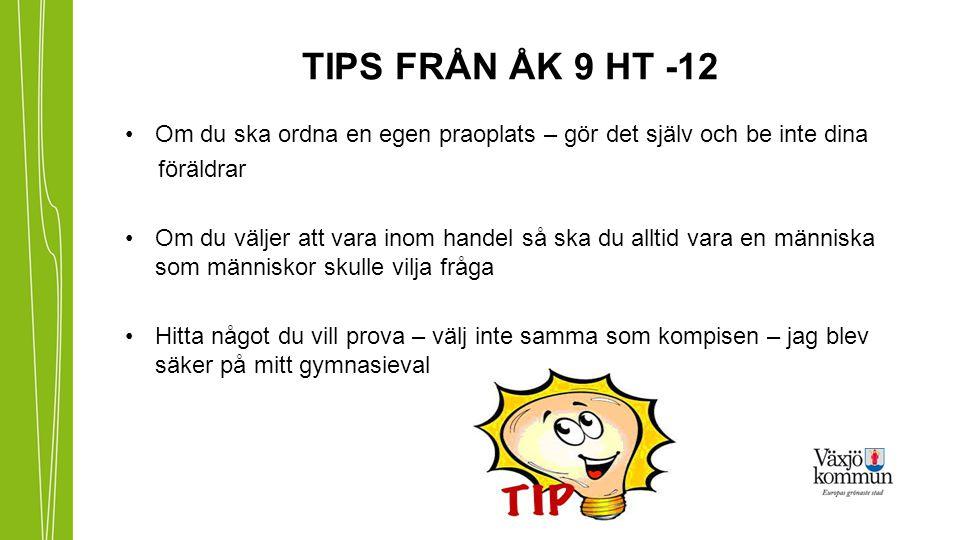 TIPS FRÅN ÅK 9 HT -12 Om du ska ordna en egen praoplats – gör det själv och be inte dina. föräldrar.