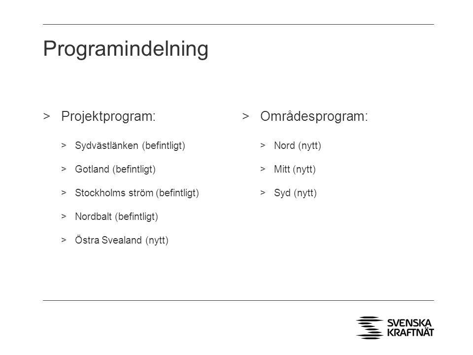 Programindelning Projektprogram: Områdesprogram: