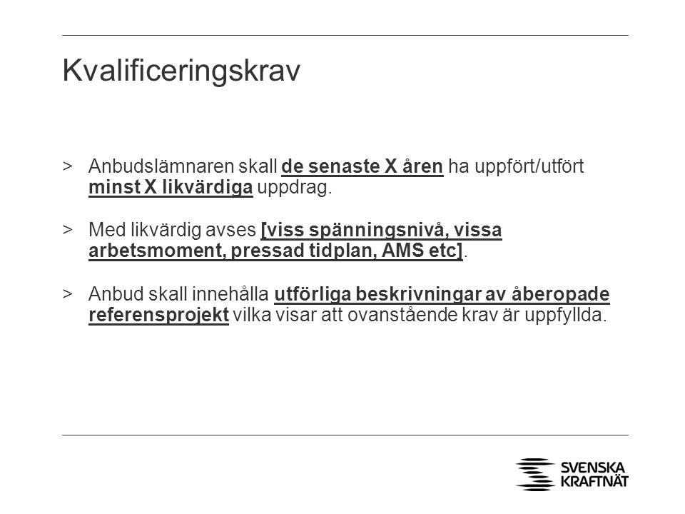 Kvalificeringskrav Anbudslämnaren skall de senaste X åren ha uppfört/utfört minst X likvärdiga uppdrag.