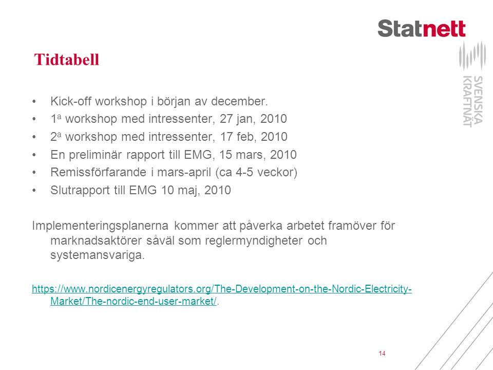 Tidtabell Kick-off workshop i början av december.