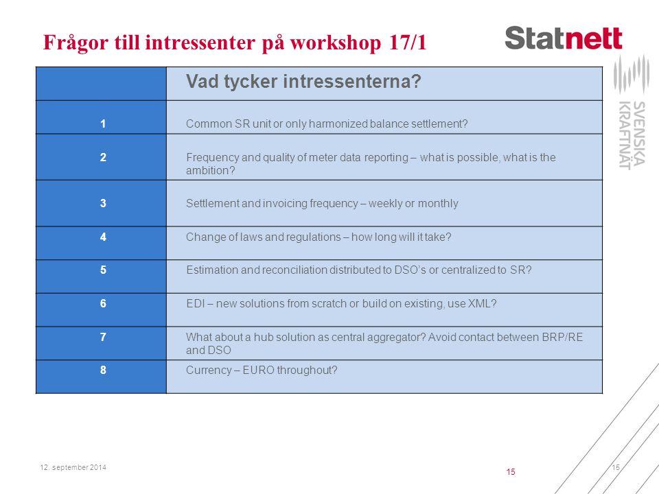 Frågor till intressenter på workshop 17/1