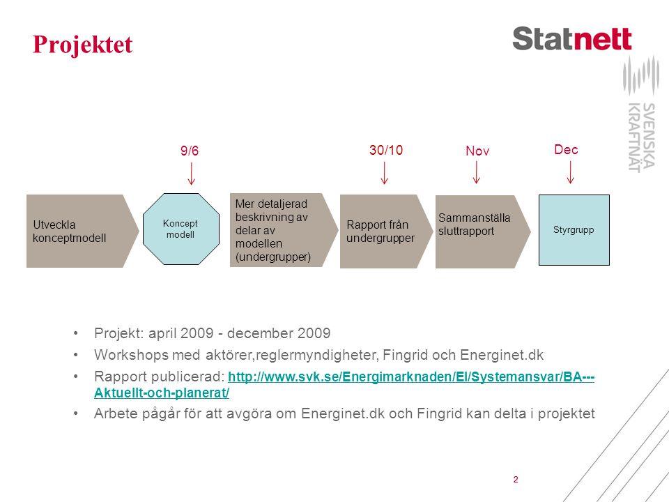 Projektet Projekt: april 2009 - december 2009