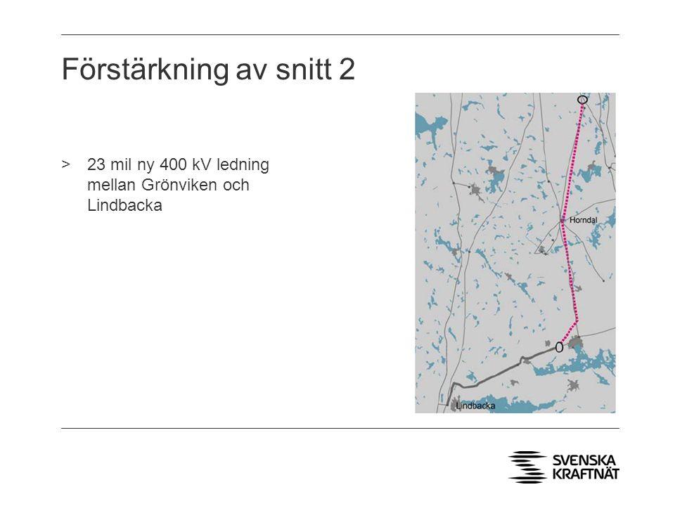 Förstärkning av snitt 2 23 mil ny 400 kV ledning mellan Grönviken och Lindbacka