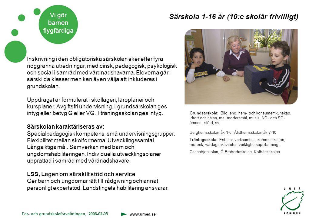 Särskola 1-16 år (10:e skolår frivilligt)