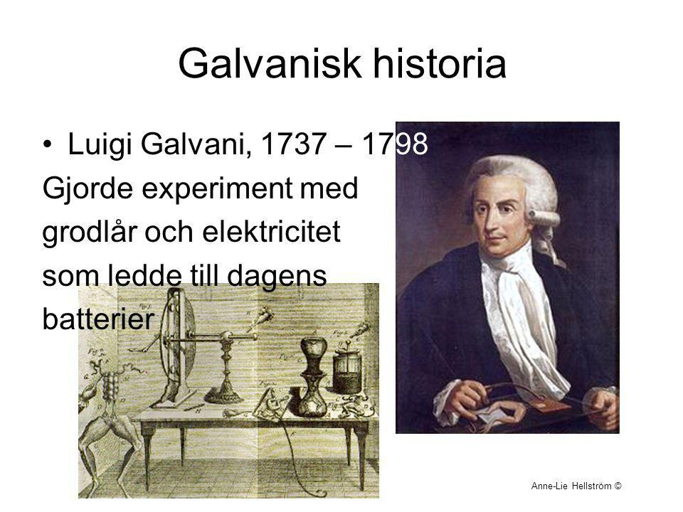 Galvanisk historia Luigi Galvani, 1737 – 1798 Gjorde experiment med