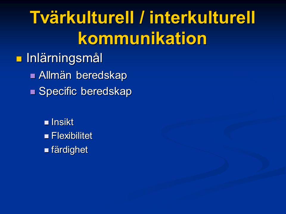 Tvärkulturell / interkulturell kommunikation